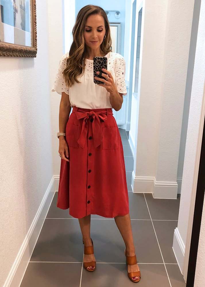red button down skirt and white top