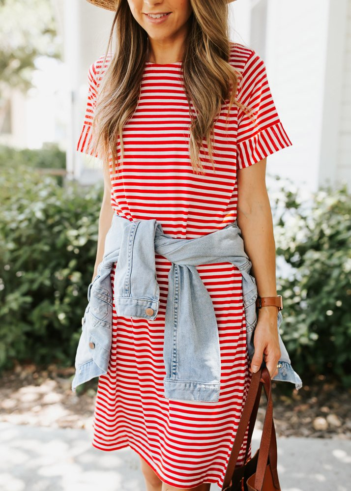 red striped dress and denim jacket