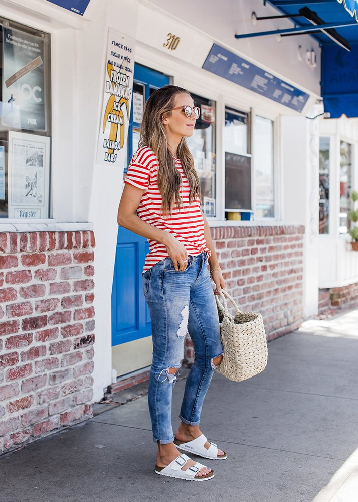 red striped tshirt and jeans