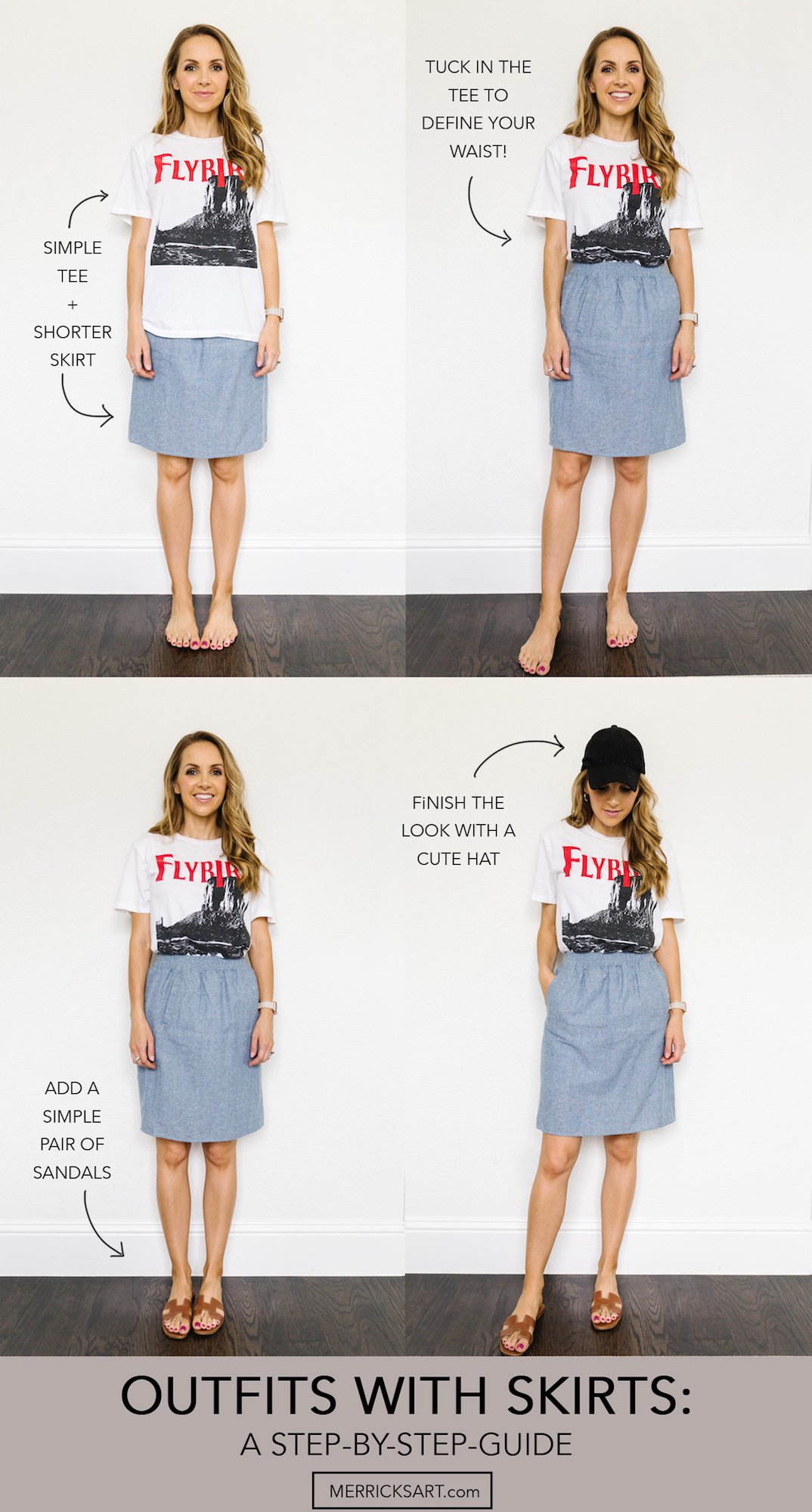 collage of denim skirt with graphic tee
