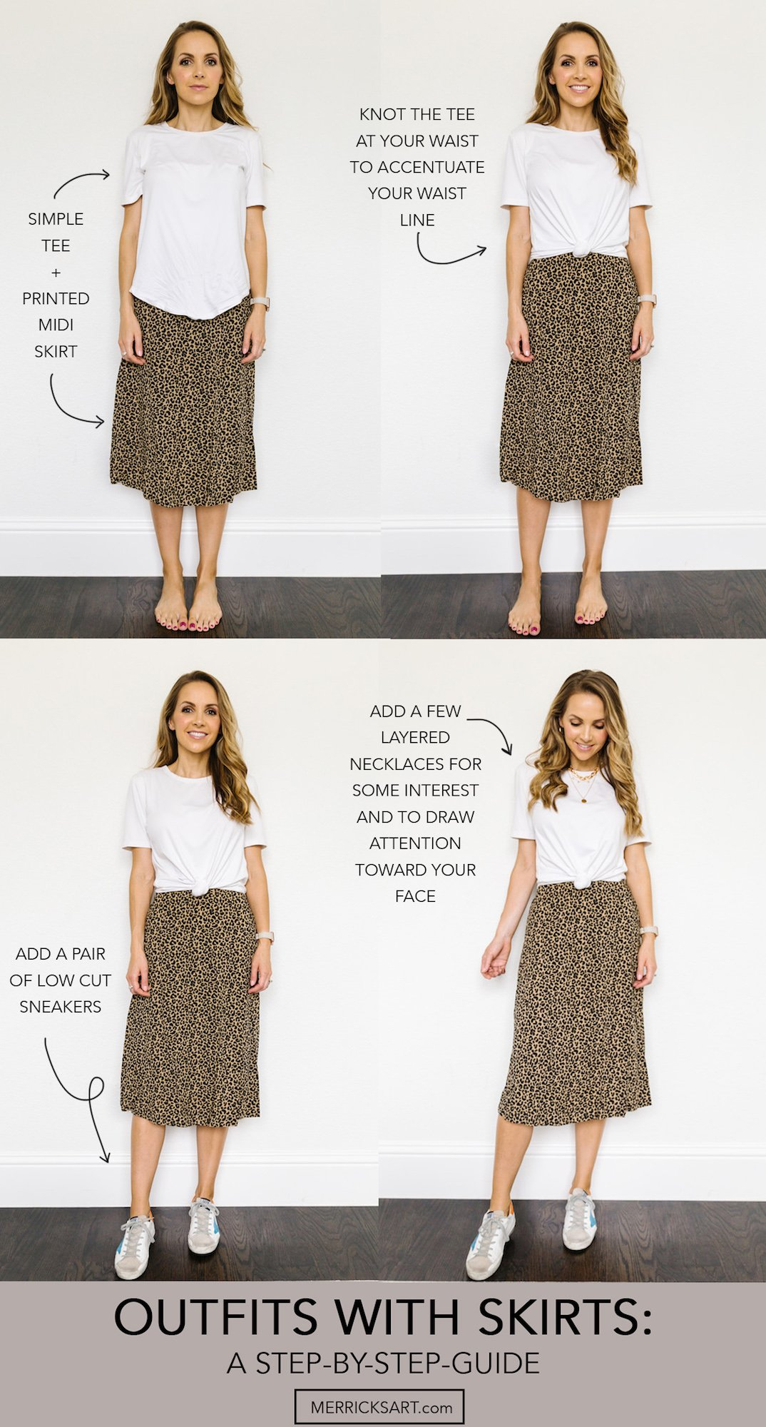 collage of outfits with leopard skirt and white