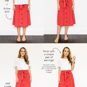 collage of red old navy skirt and eyelet top