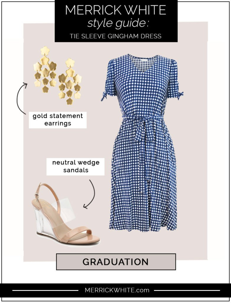 gingham tie sleeve dress styling ideas