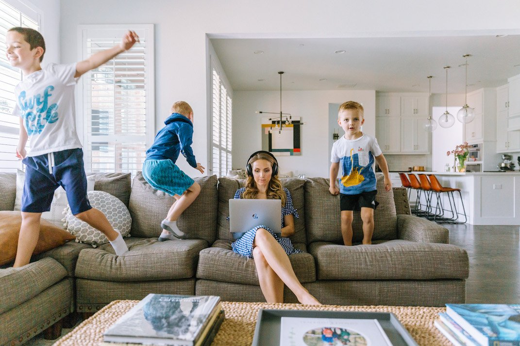 kids jumping on the couch