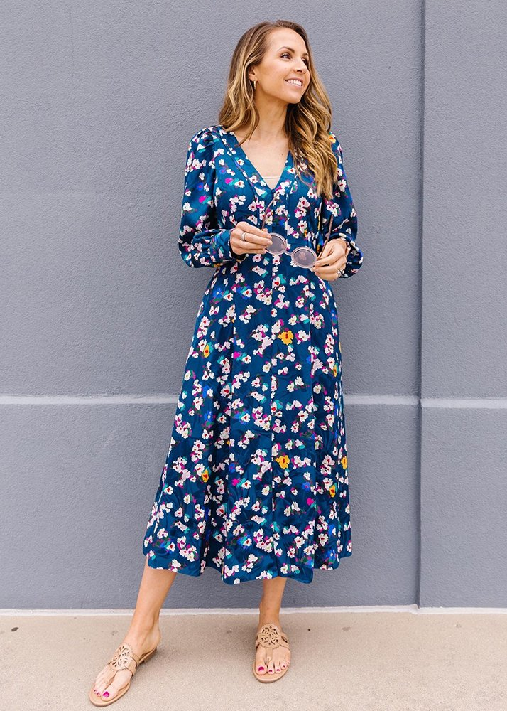 floral midi dress and sandals