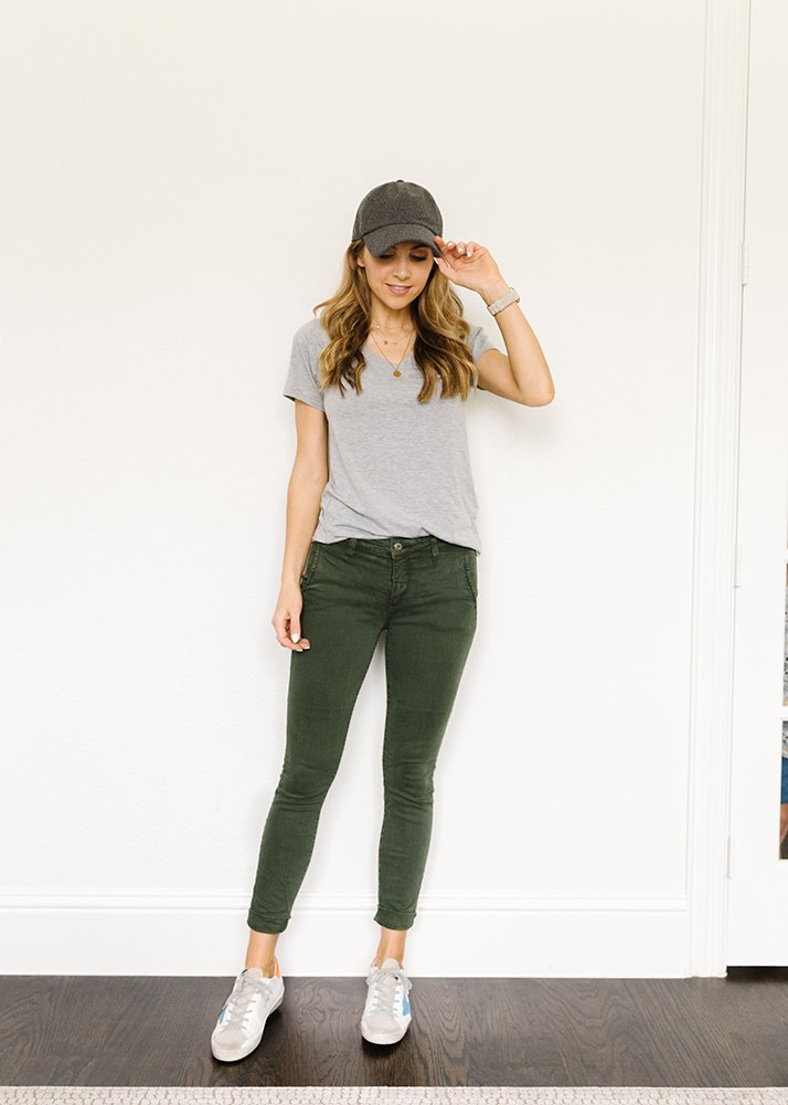gray tee and olive pants