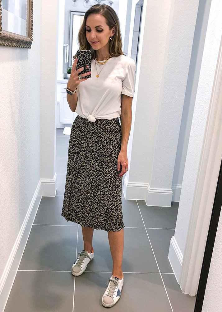 leopard midi skirt and white tee