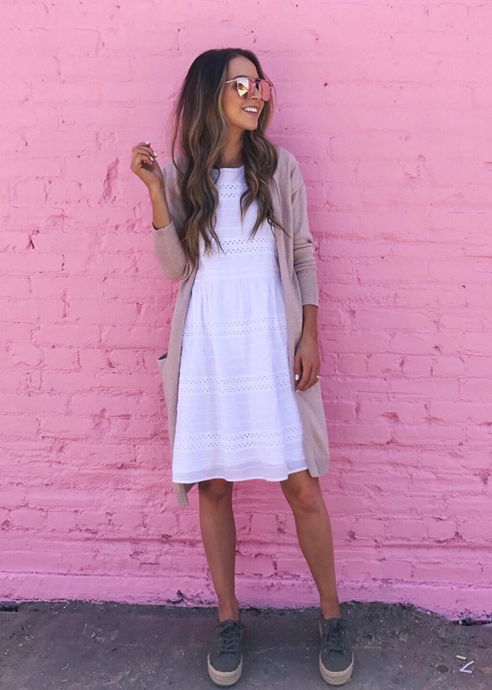 white eyelet dress and cardigan
