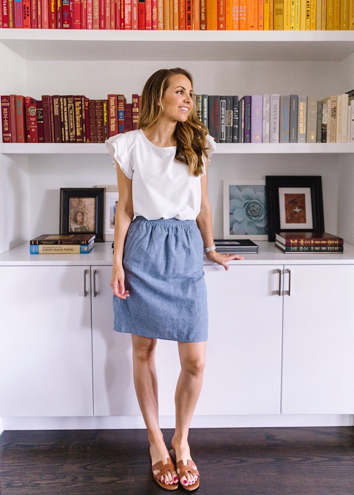 white top and chambray skirt