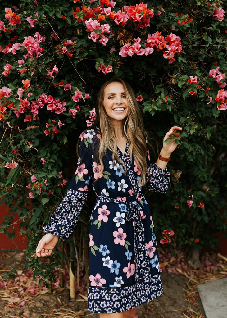 floral dress with bougainvillea