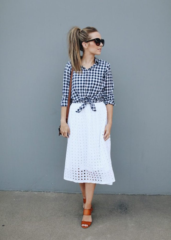 white skirt and blue gingham top