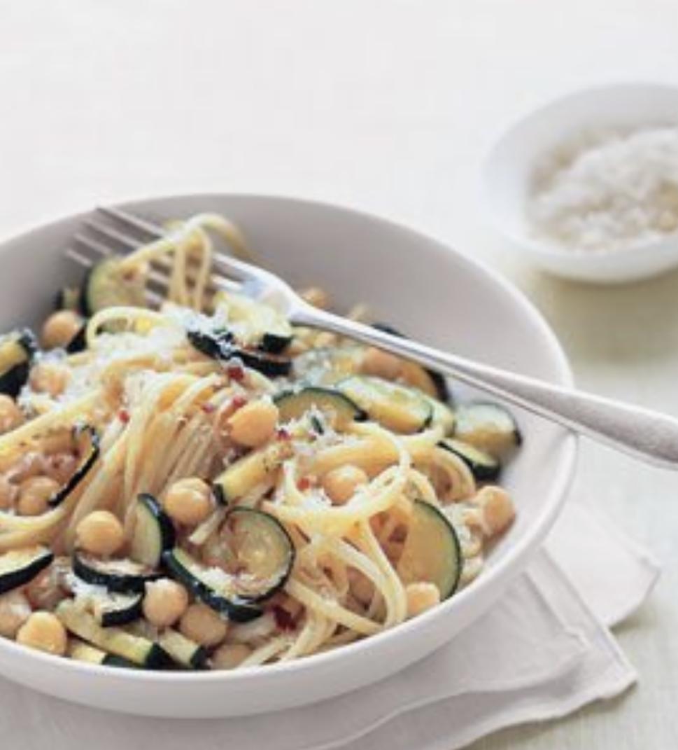 zucchini and chickpea pasta