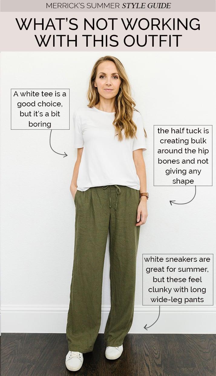 linen pants white zyia tee