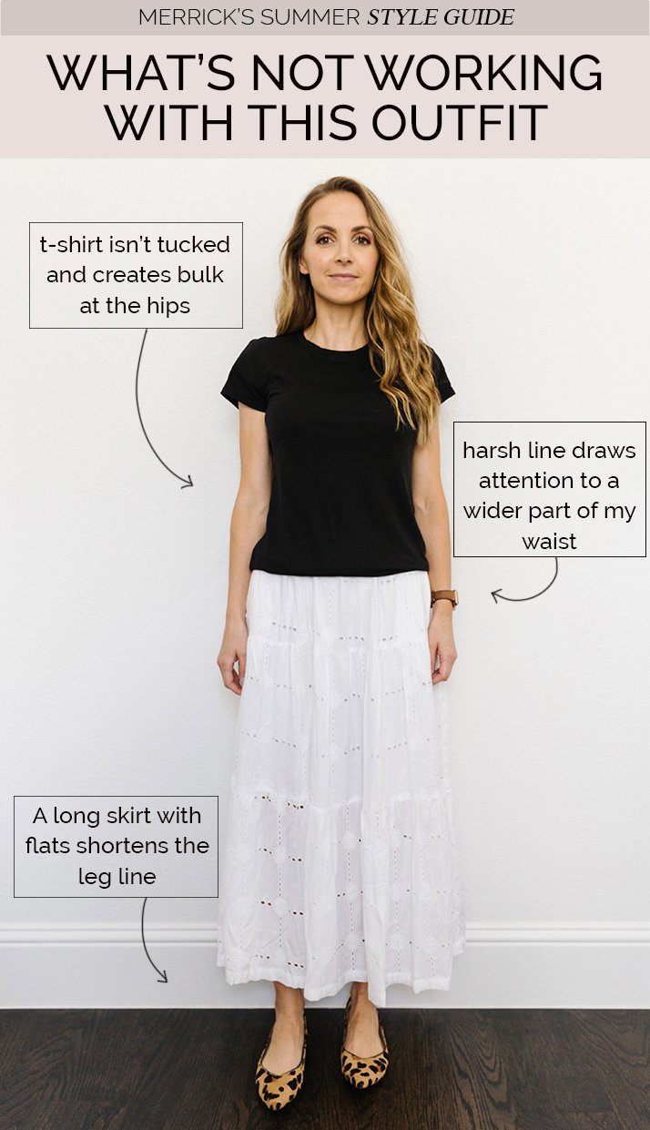 white skirt with black tee