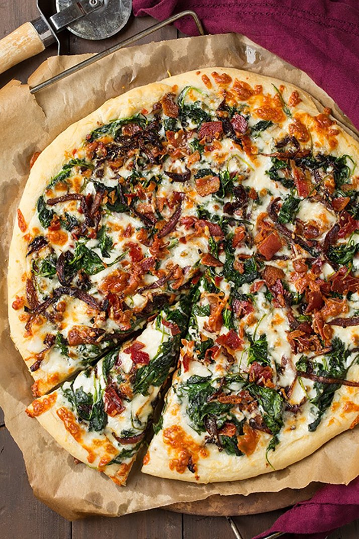 caramelized onion bacon spinach pizza