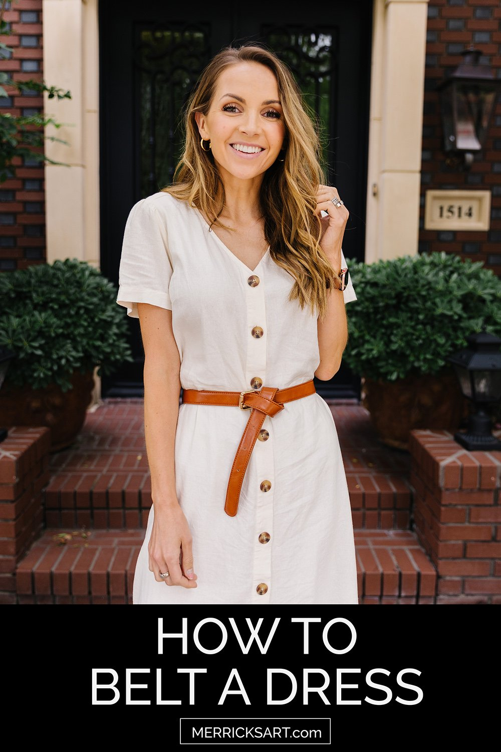 white linen dress with brown leather belt