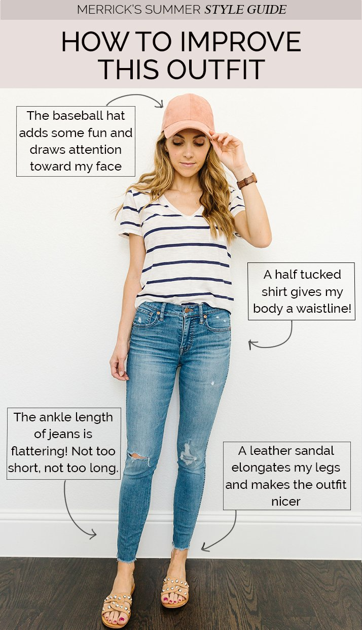 blue jeans and striped tee