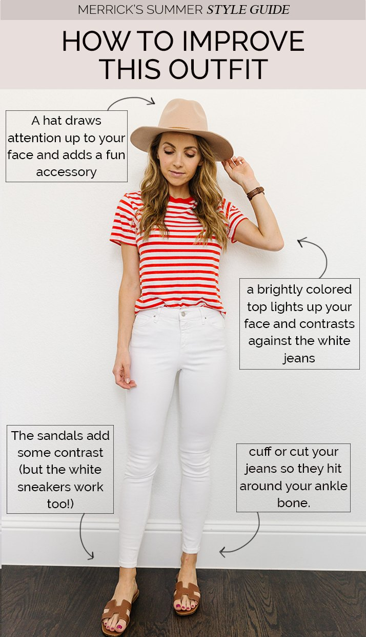 white jeans outfit with striped shirt
