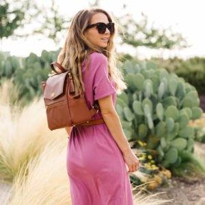 pink dress with freshly picked backpack