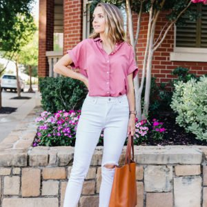 pink top and white jeans