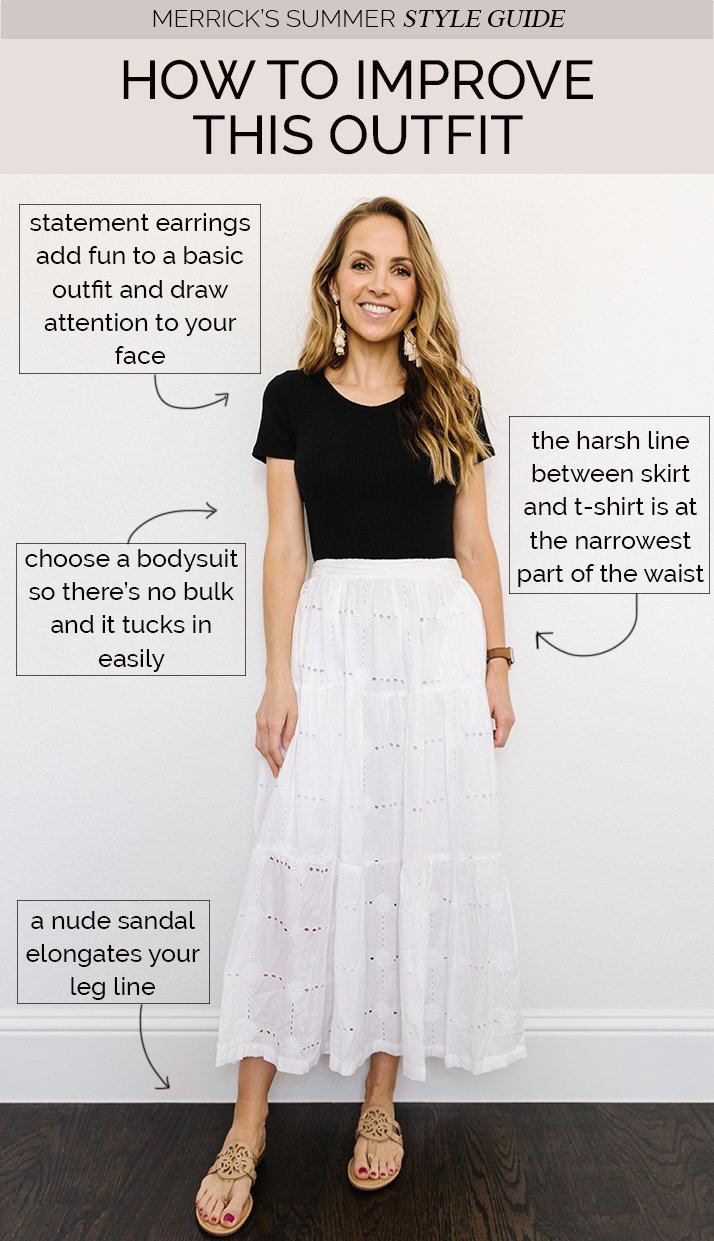 black tee with white skirt