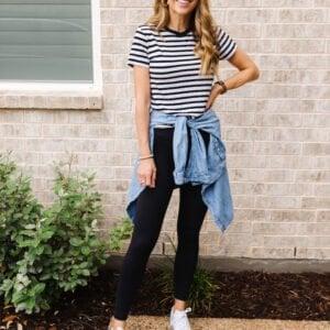 black leggings with striped tee