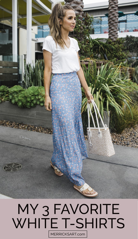 white tee and maxi skirt
