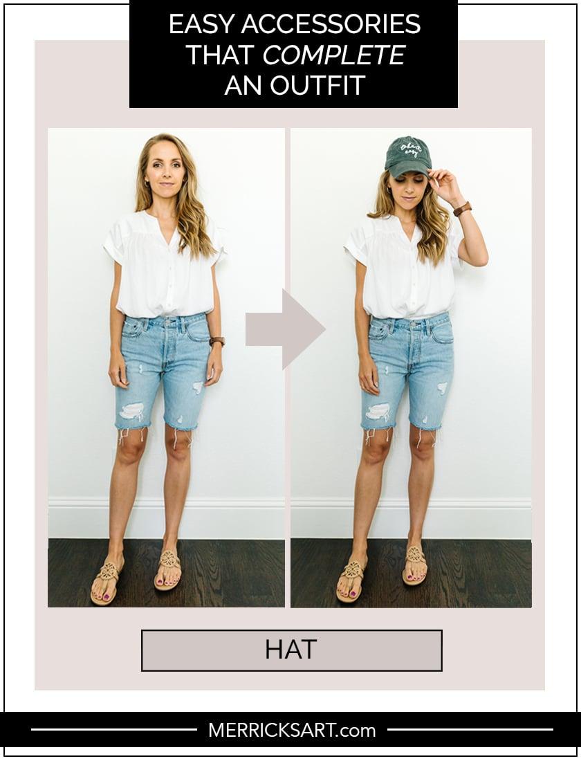shorts with baseball cap