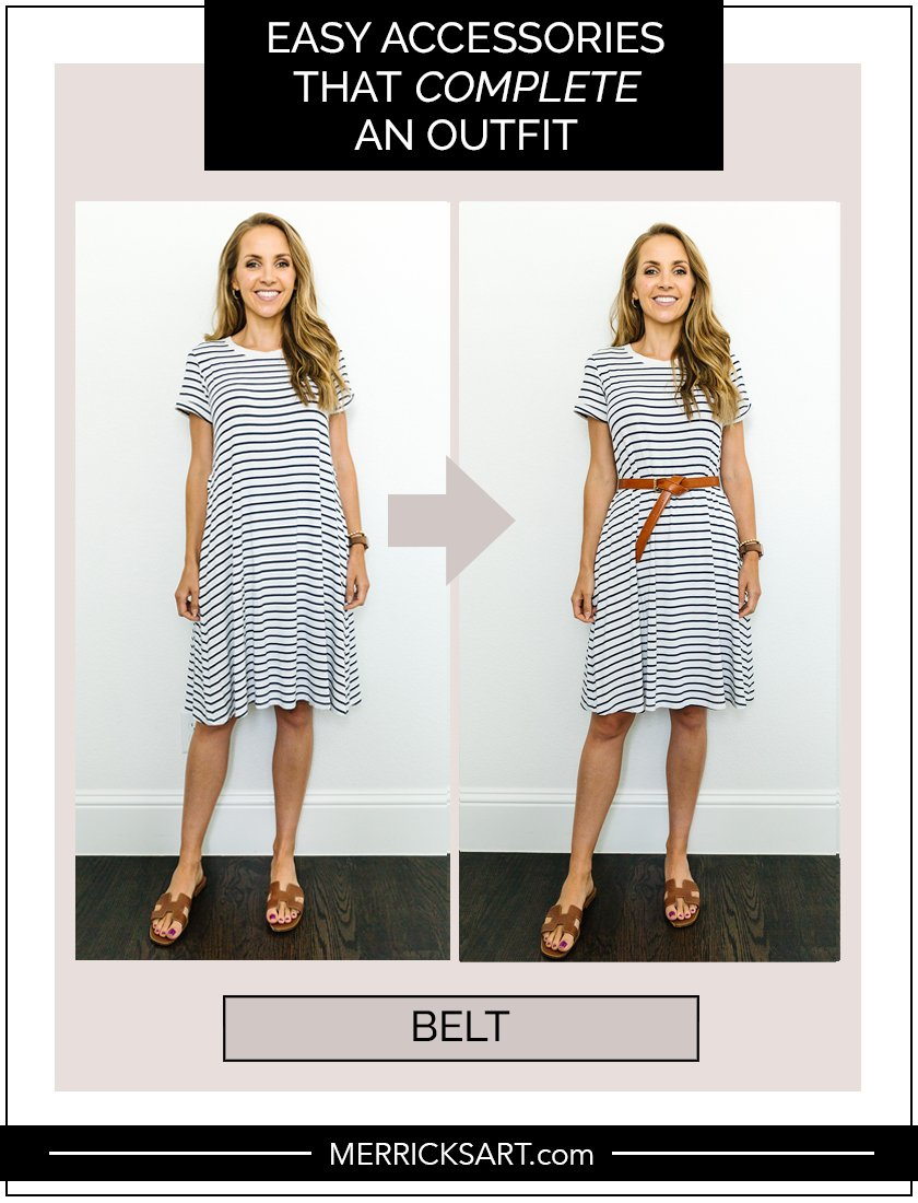 striped dress with leather belt