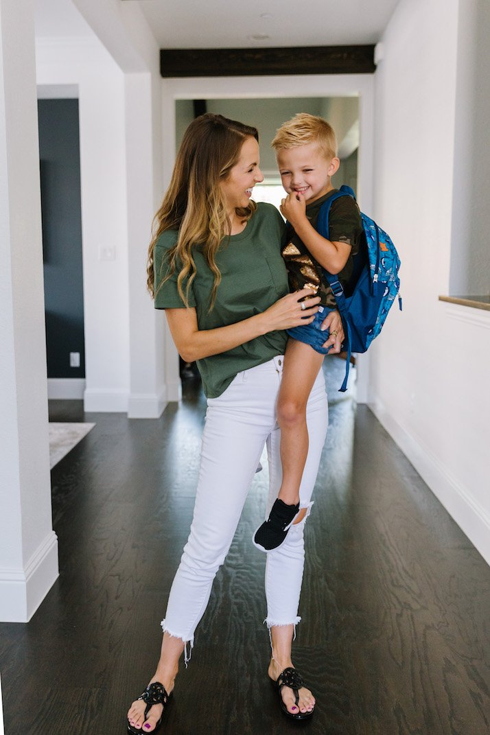 back to school mom and son