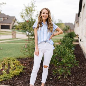 blue and white striped shirt with white jeans