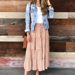 denim jacket and floral midi skirt