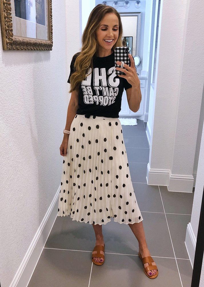 graphic tee and polka dot skirt