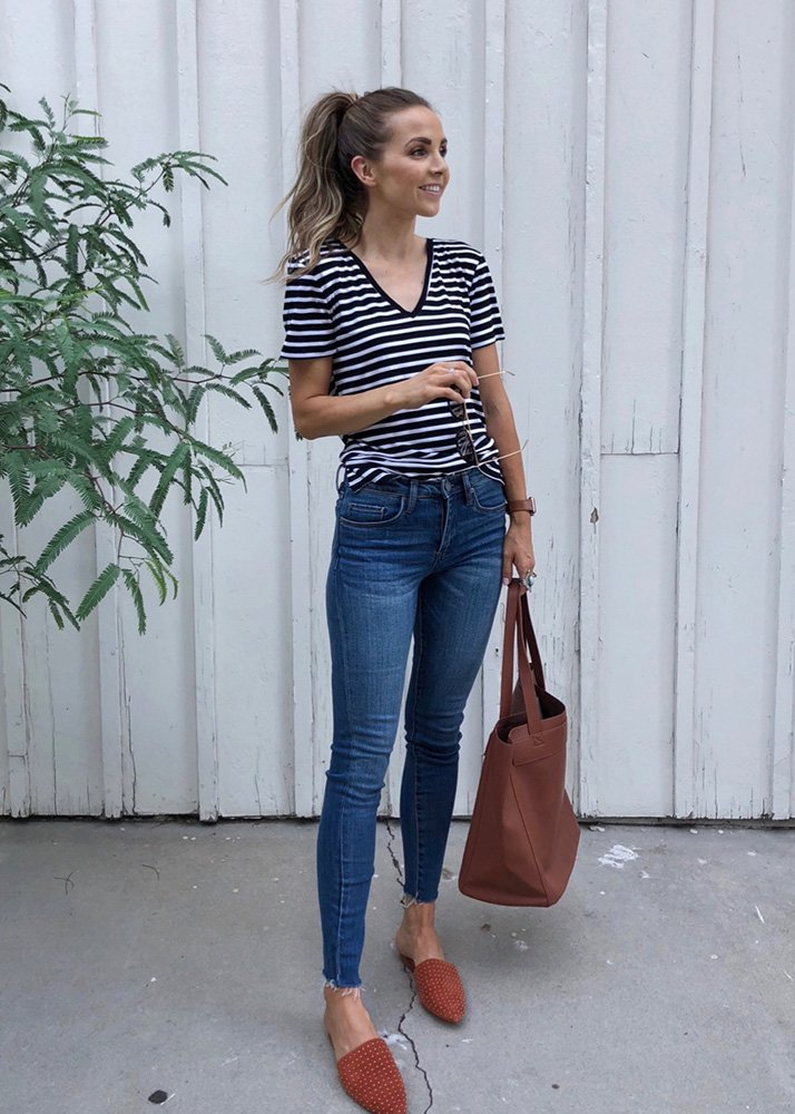 striped tee and jeans