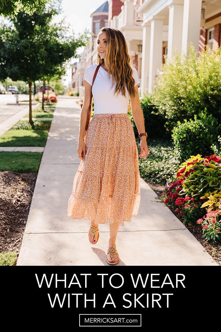 tiered midi skirt with white bodysuit