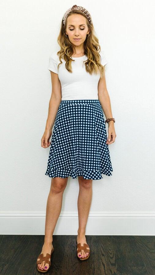 gingham skirt with white bodysuit