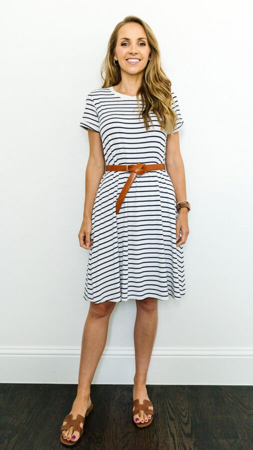 striped Merrick White dress with leather belt