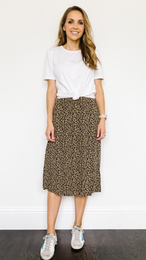 leopard skirt with white tee and jewelry