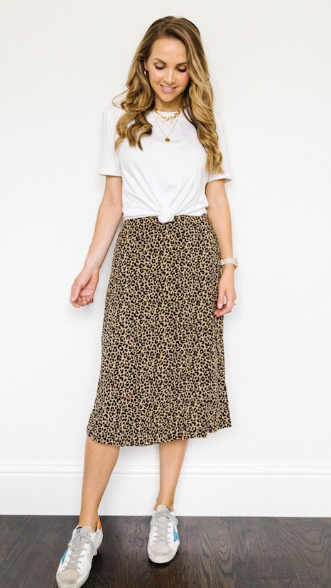 leopard skirt with knotted white tee