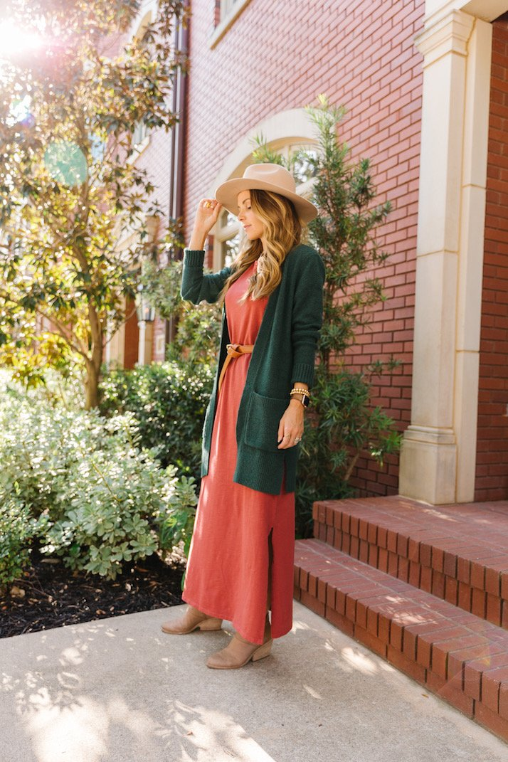 Rust maxi dress with green cardigan from amazon