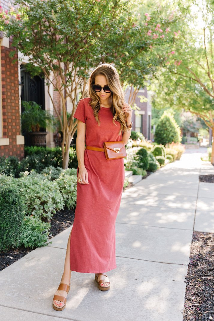 Amazon rust maxi dress with belt bag and sandals