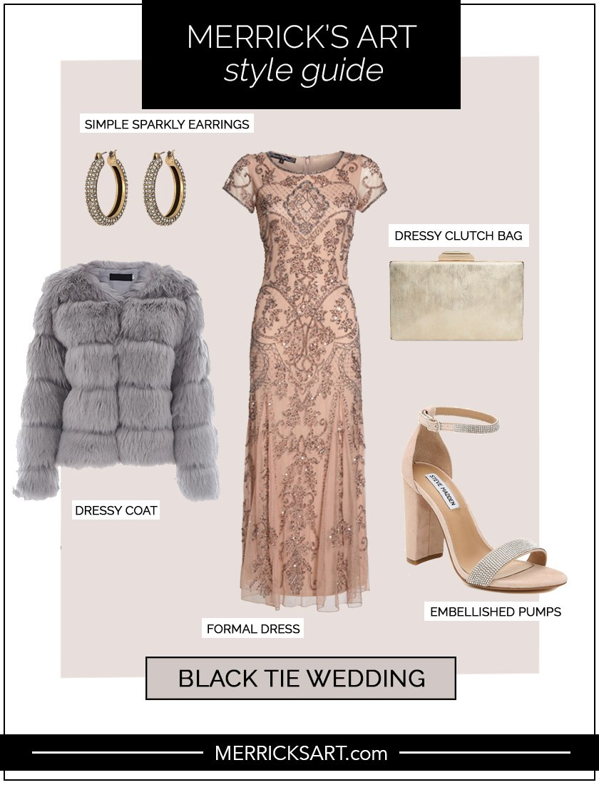 collage of style guide for black tie wedding guest