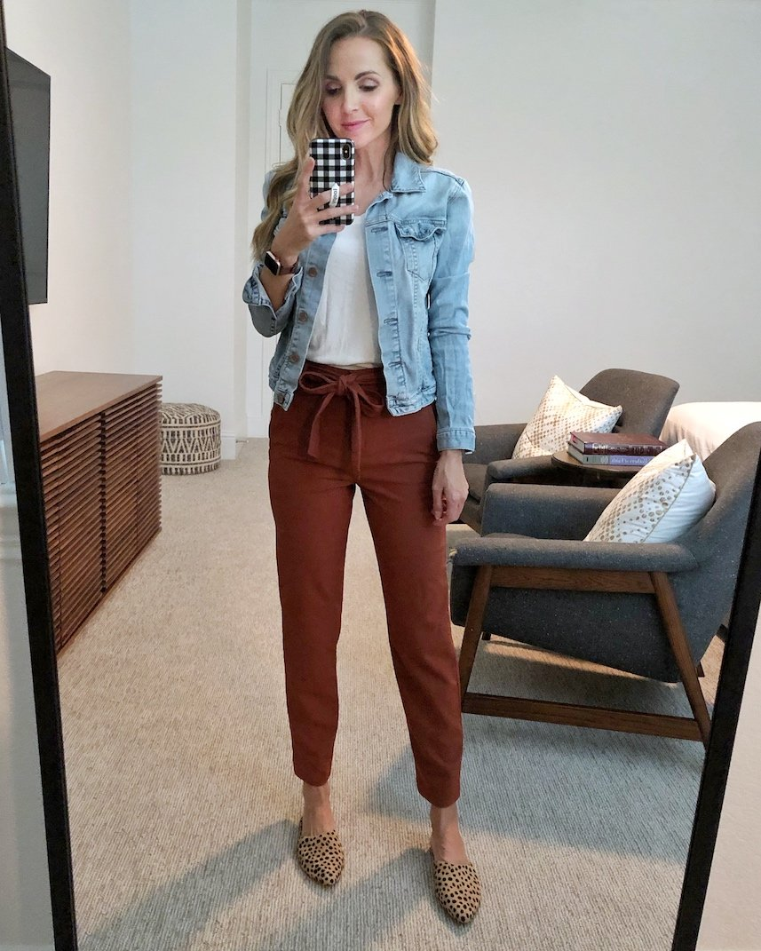 denim jacket with bow pants