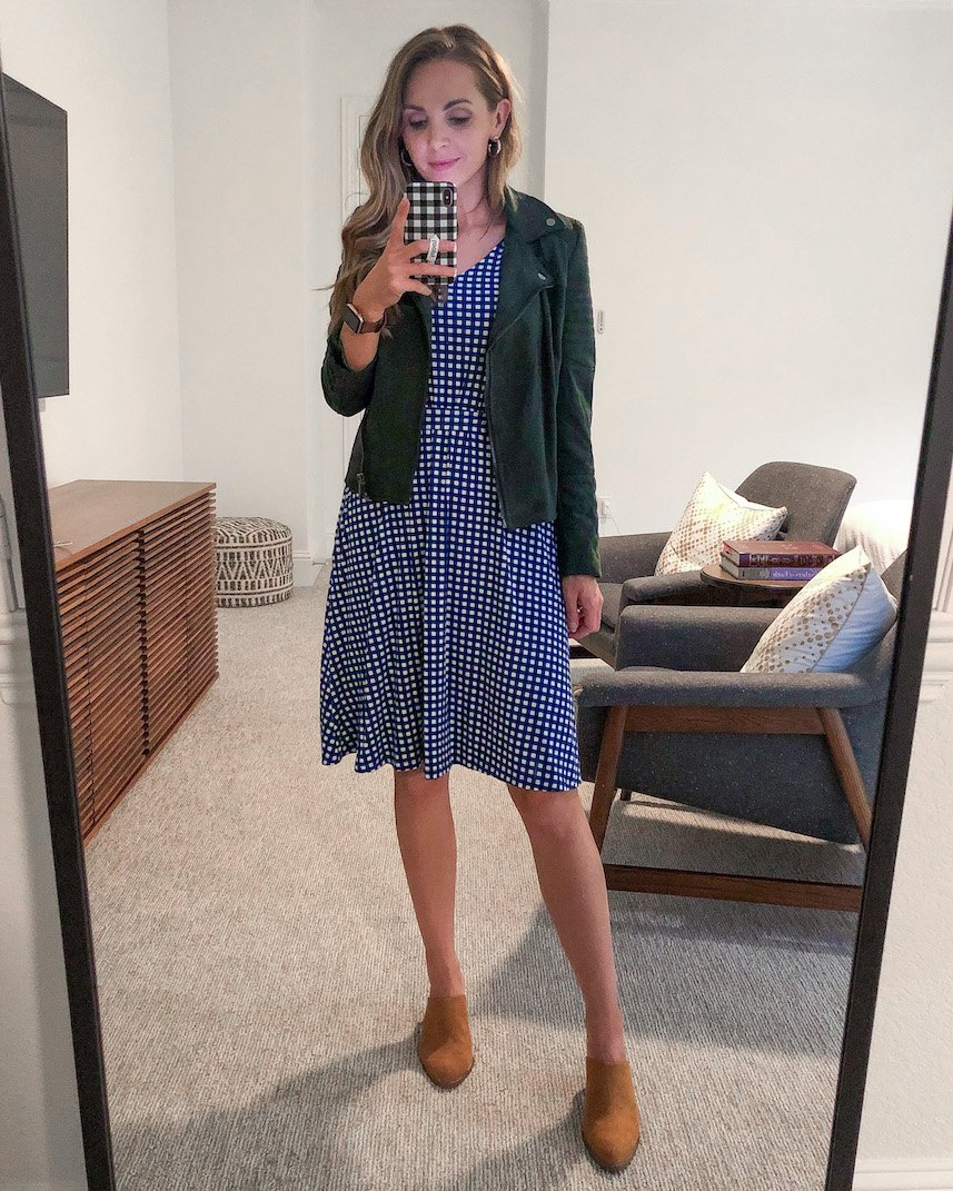 suede jacket with gingham dress