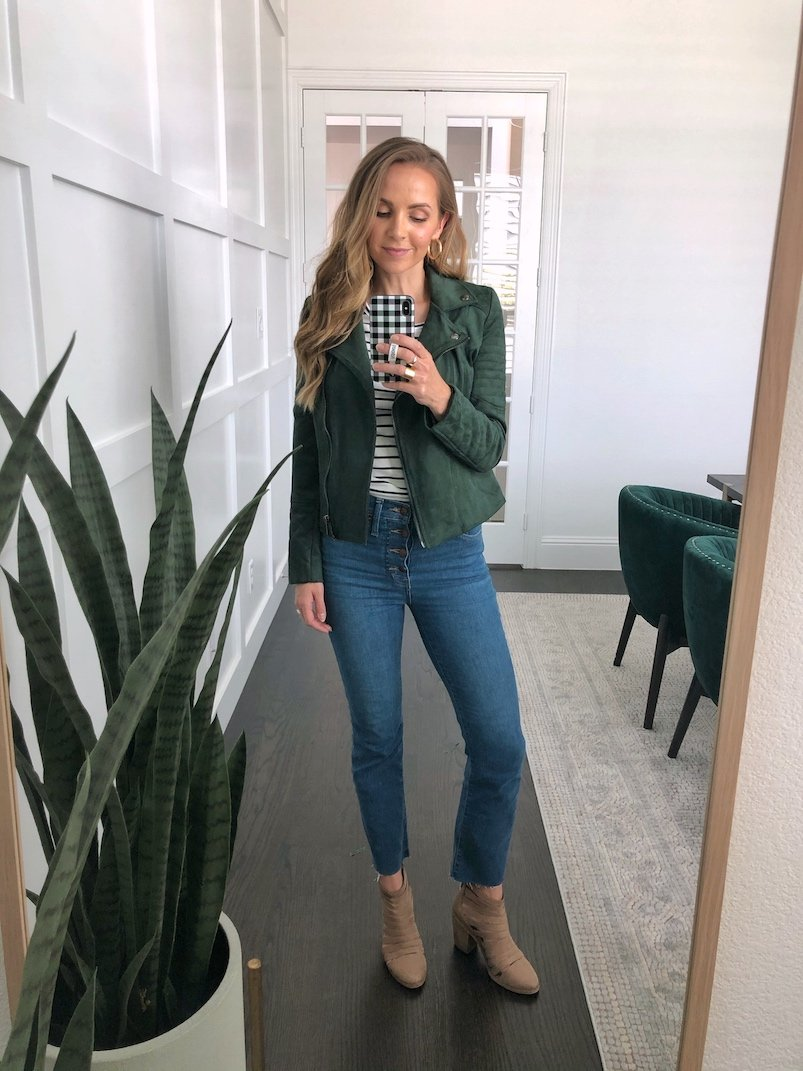 green jacket with cropped flare jeans