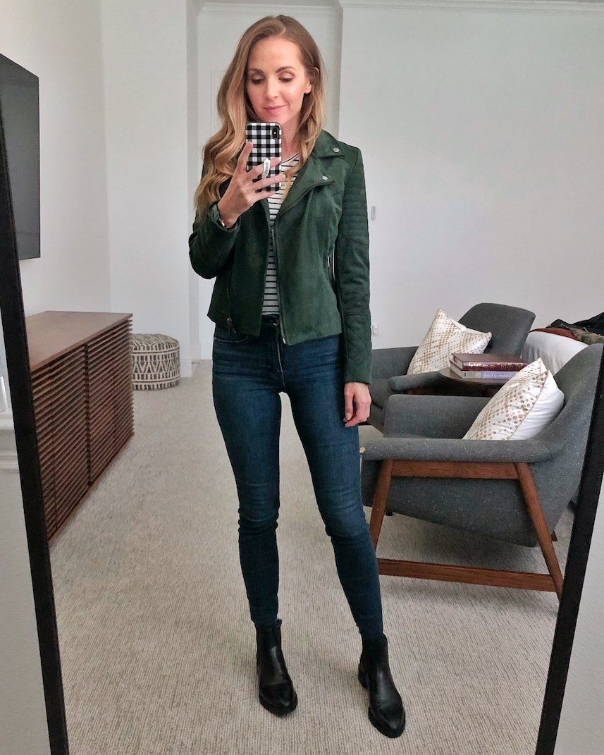 green suede jacket with boots