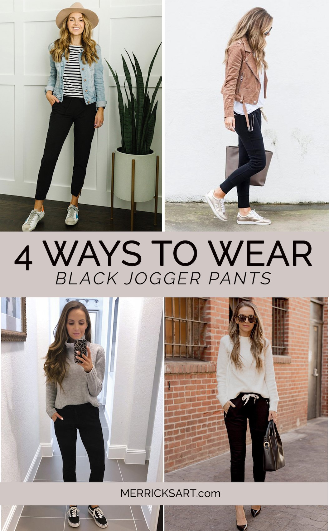 collage of black jogger outfits