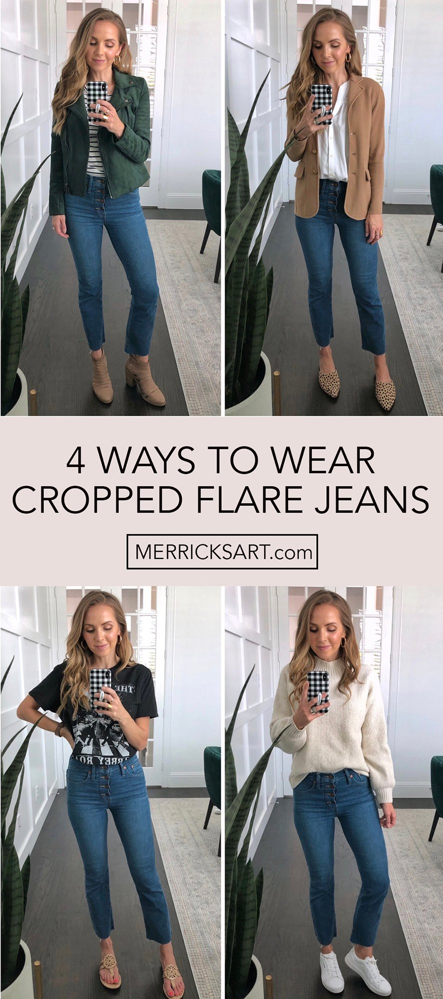 collage of cropped flare jeans