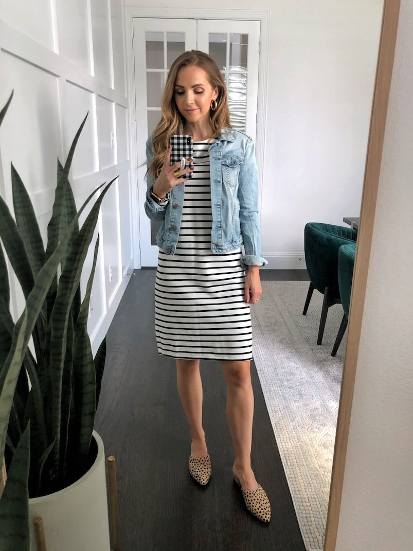 leopard flats and striped dress with denim jacket
