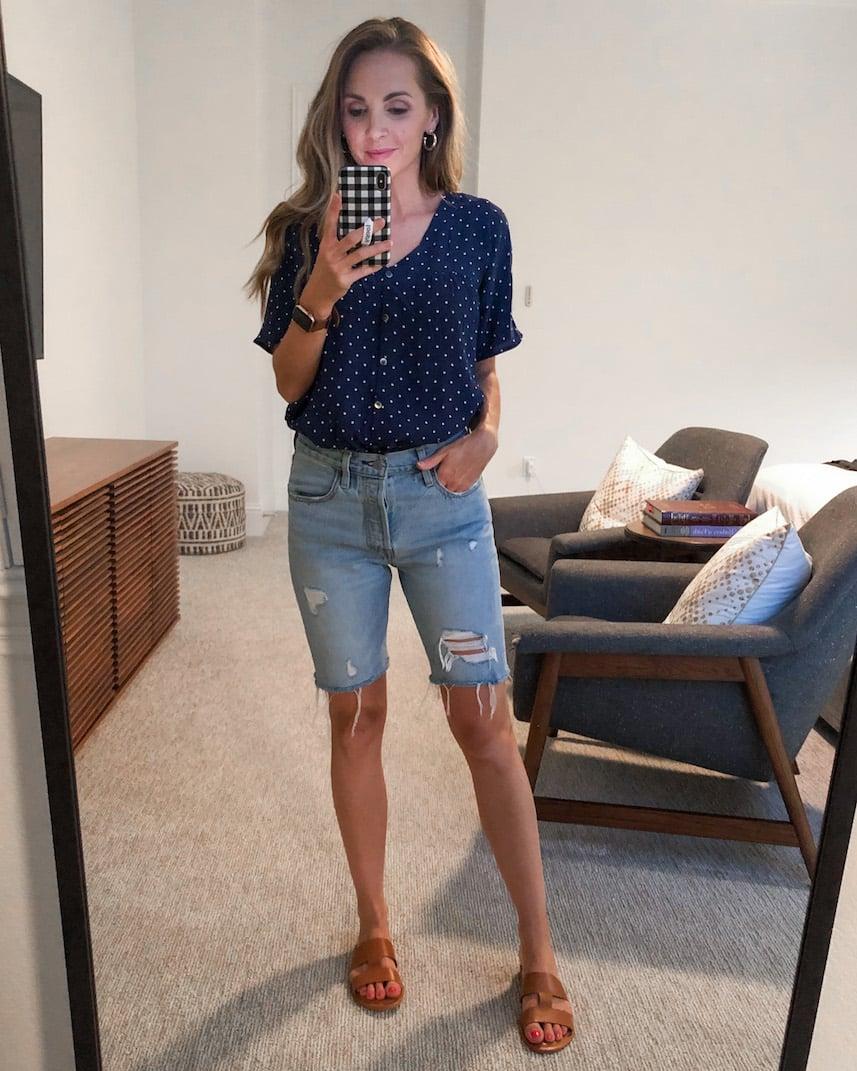 shorts and madewell polka dot top
